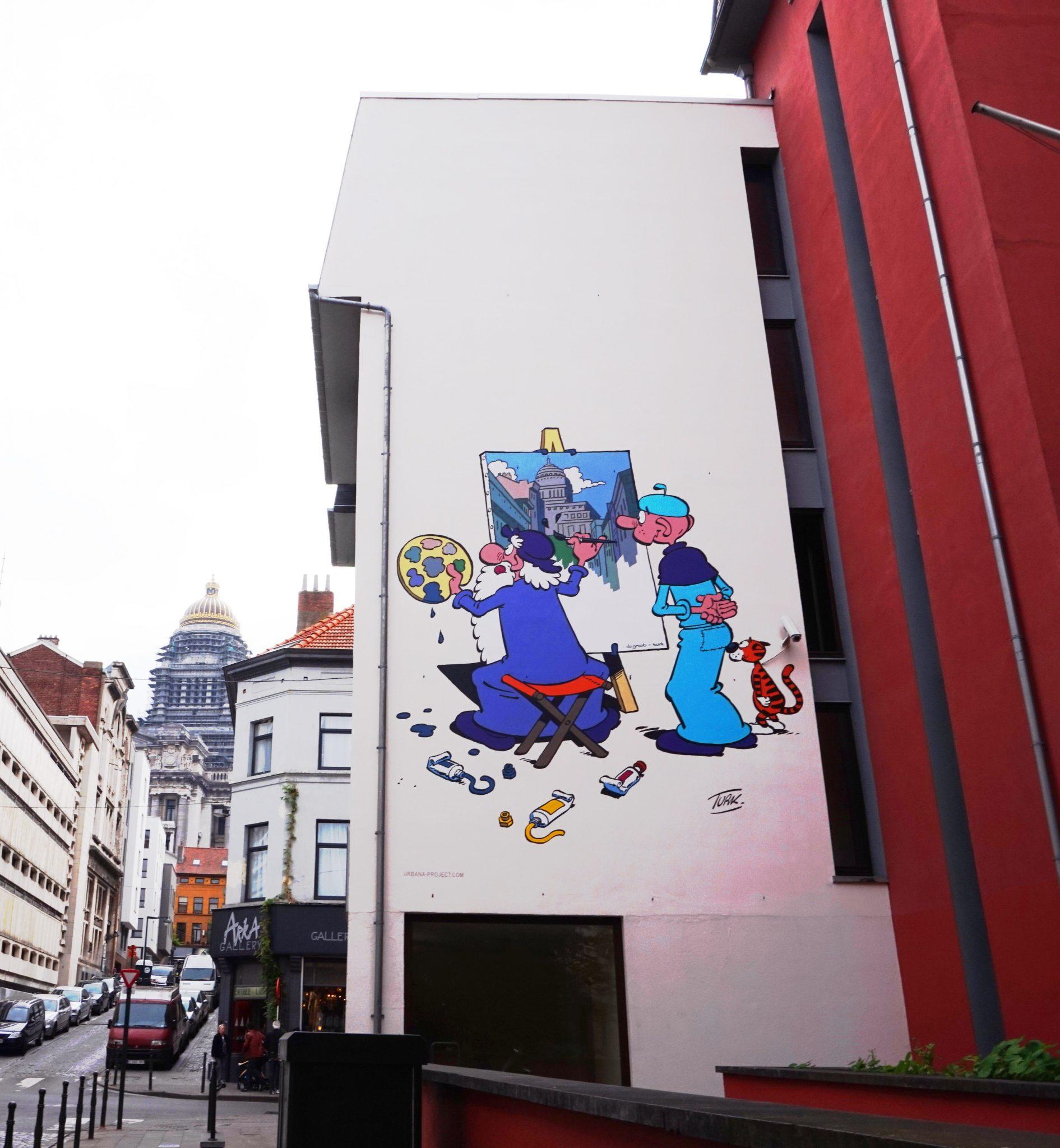 Tegneserie-maleri i Bruxelles